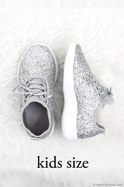KIDS' SIZE - Girls Lace Up Glitter Sneakers-Silver- (LIMITED TIME SALE!)
