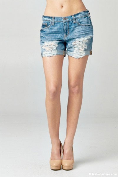 Distressed & Destroyed Ripped Boyfriend Denim Shorts-Blue