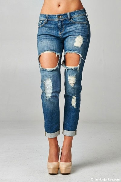 cutout ripped distressed destroyed denim boyfriend jeans blue. Black Bedroom Furniture Sets. Home Design Ideas