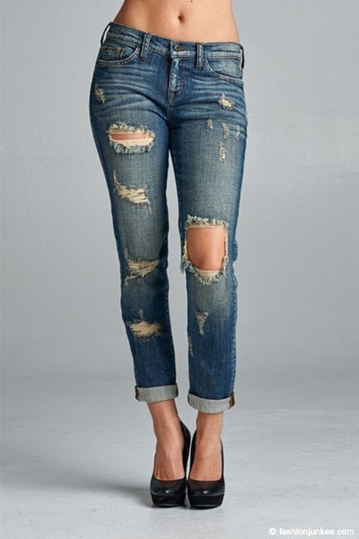 SIZE Mid-Rise Cutout Ripped Distressed Destroyed Stretch Denim ...