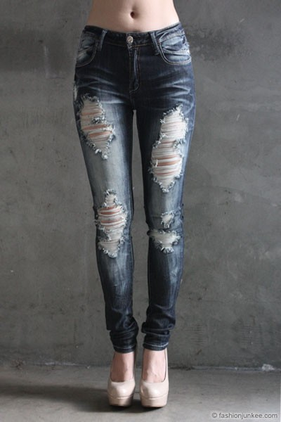 PLUS SIZE Ripped Distressed Destroyed Denim Faded Skinny Jeans-Dark Blue