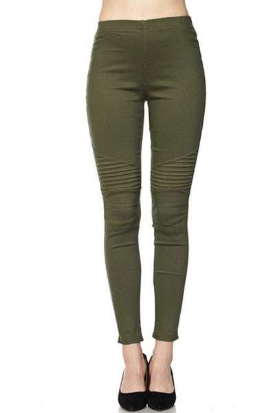 Moto Stretch Jeggings Pants-Olive Green