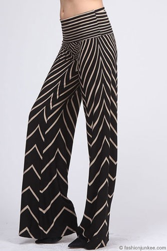 SIZE Foldover Waist Chevron Print Palazzo Long Gaucho Pants with ...