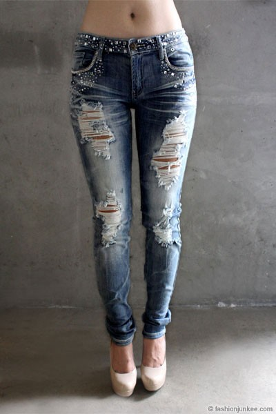 SIZE Rhinestone Distressed Ripped Destroyed Denim Skinny Jeans ...