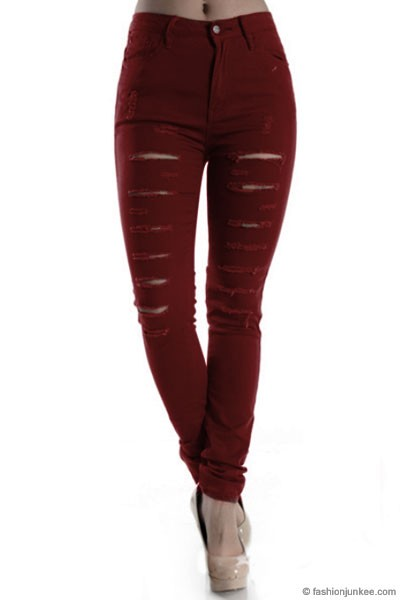 Mid-Rise Ripped Distressed Destroyed Skinny Jeans-Burgundy Dark Red