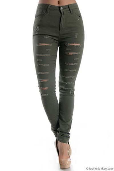 Stretch Mid-Rise Ripped Distressed Destroyed Skinny Jeans-Olive Green - Mid-Rise Ripped Distressed Destroyed Skinny Jeans-Olive Green