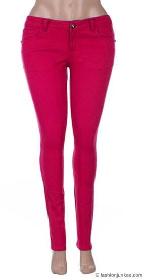 Size Moleton Stretch Sexy Colored Skinny Denim Jeans Jeggings-Fuschia