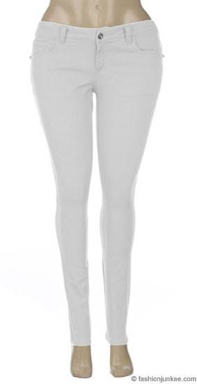 Size Moleton Stretch Sexy Colored Skinny Denim Jeans Jeggings-White
