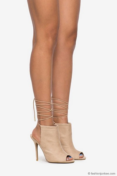 Heel Open Peep Toe Faux Suede Lace Up Ankle Booties-Nude Beige