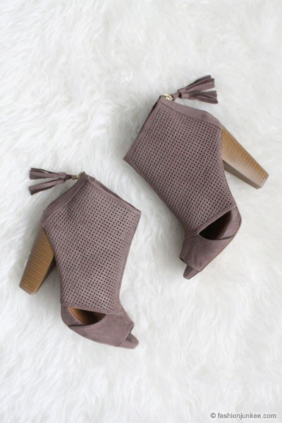 Faux Suede Perforated Open Peep Toe Cut Out Ankle Booties-Grey Taupe
