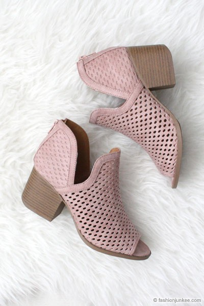 Perforated Ankle Slit Open Peep Toe Booties-Blush
