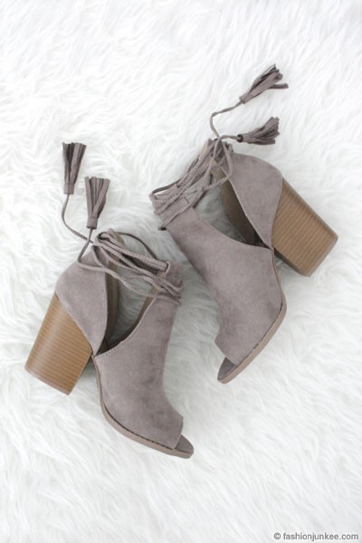 Boho Faux Suede Lace Up Cutout Ankle Booties with Stacked Heel-Grey-IN STOCK!