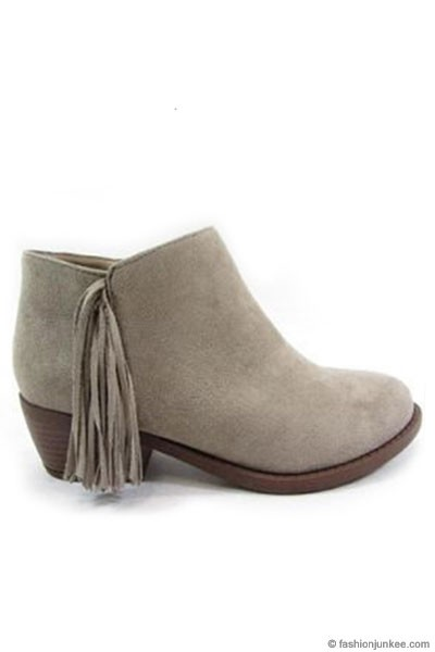 Boho Indie Faux Suede Fringe Ankle Booties with Low Heel-Stone Grey