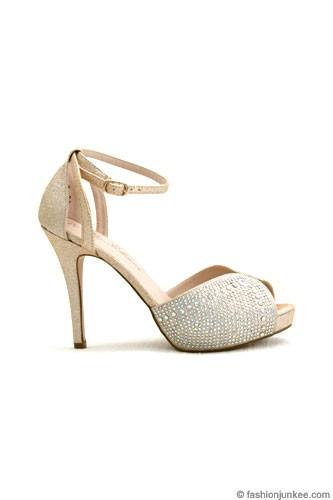 SALE: Rhinestone Open Peep Toe Heels Wedding Shoes with Ankle ...