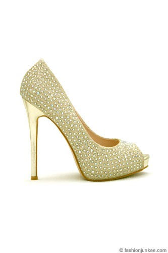 FLASH SALE Glamorous Rhinestone Open Peep Toe Pumps Heels Wedding Shoes Gold