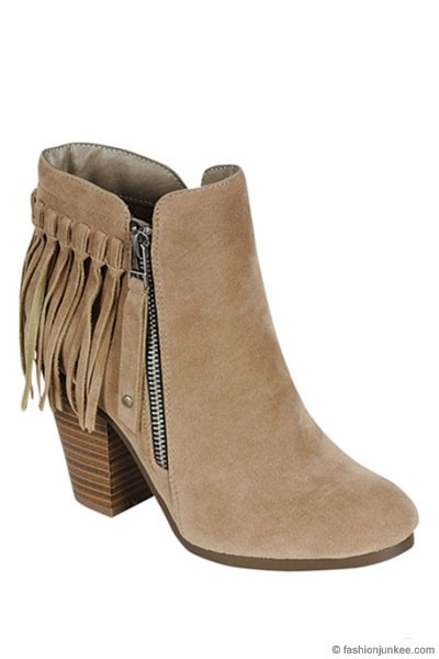 Indie Faux Suede Individual Fringe Ankle Boots Booties-Taupe