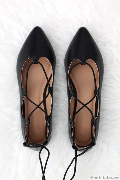 Faux Suede Pointy Toe Strappy Ballet Ballerina Lace Up Flats-Black