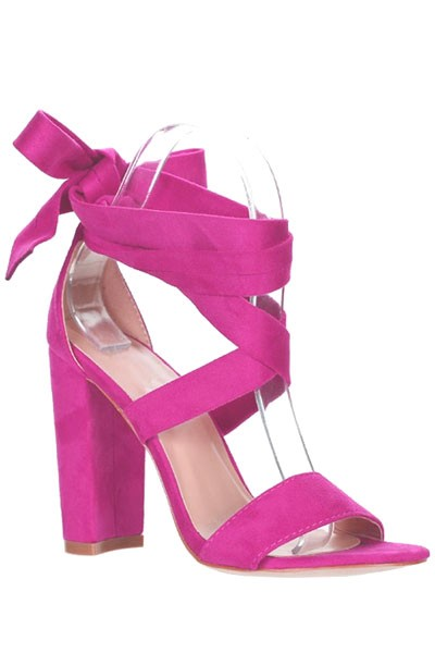 Suede Wrap Around Ankle Lace Up Heels-Fuschia Pink