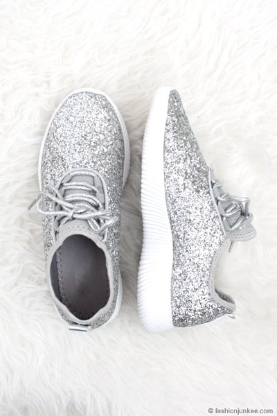 FLASH SALE: Lace Up Glitter Bomb Sneakers Shoes-Silver - (LIMITED TIME SALE!) - NOW IN STOCK!