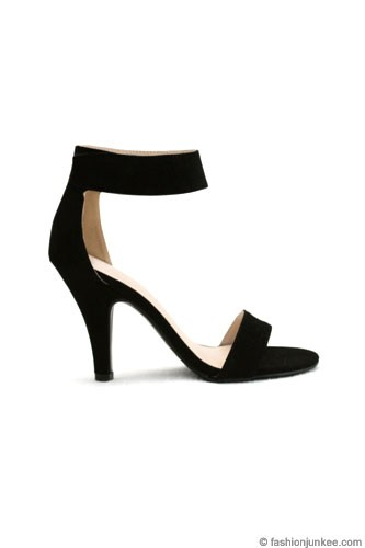 Ankle Strap Faux Suede High Heel Shoes-Black