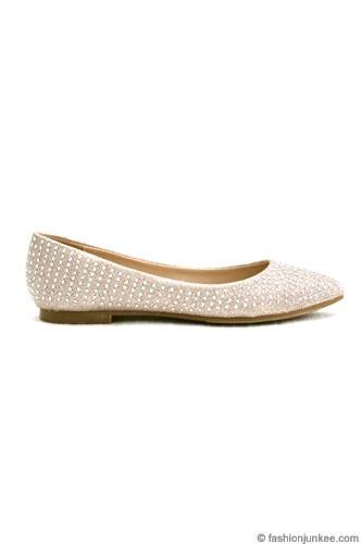 Rhinestone Pointy Toe Flats Wedding Shoes Rose Gold