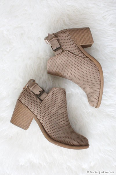 Boho Indie Faux Suede Textured Perforated Ankle Booties with Low Heel-Stone Taupe