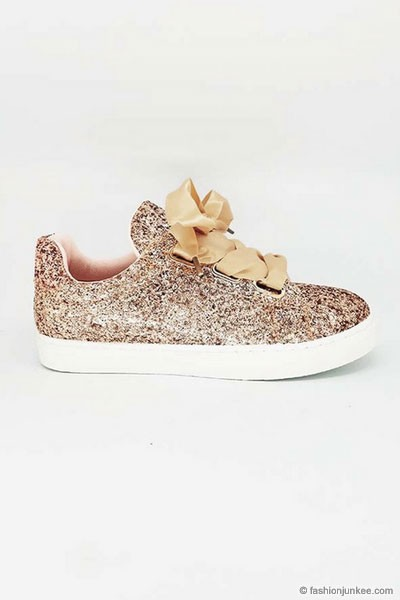 Satin Ribbon Bow Lace Up Glitter Sneakers-Rose Gold- (LIMITED TIME SALE!)