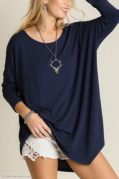 Asymmetrical Long Sleeve Loose Oversized Off the Shoulder Top-Navy Blue