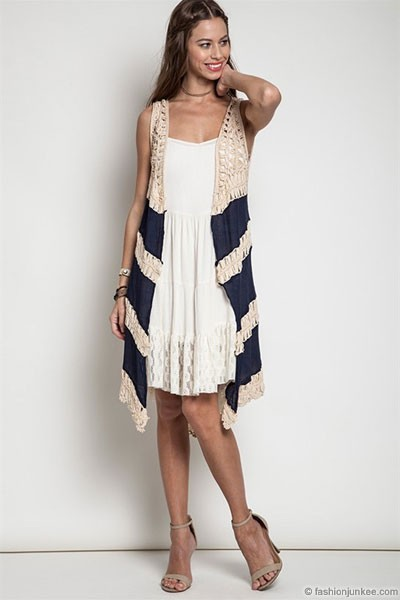 Boho Long Knit Crochet Sleeveless Cardigan Vest-Navy Blue & Beige