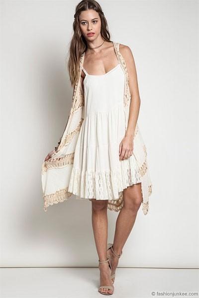 Knitting Pattern Long Sleeveless Cardigan : Boho Long Knit Crochet Sleeveless Cardigan Vest-Off White ...