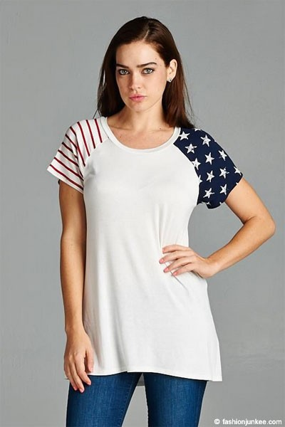 FLASH SALE: Red, White & Blue American Flag Stars and Stripes Sleeve Top-White (LIMITED TIME 50% OFF!)