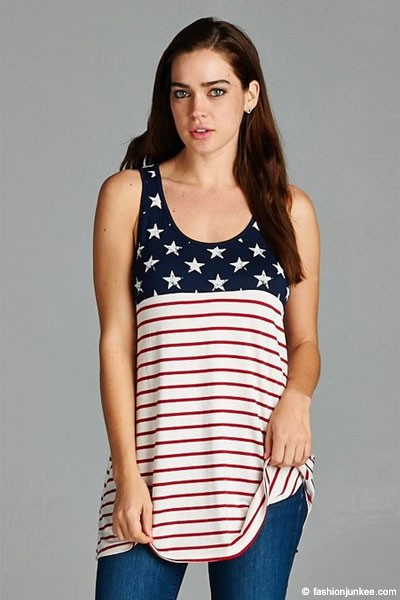 FLASH SALE: Red, White & Blue American Flag Tank Top-White (LIMITED TIME 50% OFF!)