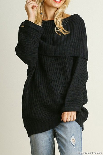 Thick Foldover Off the Shoulder Knit Sweater Top-Black