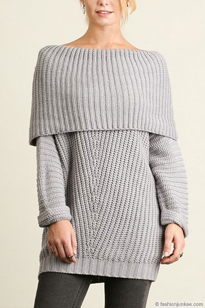 Chunky Thick Foldover Off the Shoulder Knit Sweater Top-Light Grey