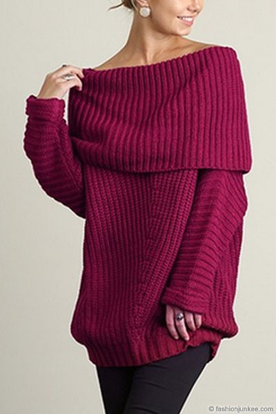PLUS SIZE Chunky Thick Foldover Off the Shoulder Knit Sweater Top-Magenta