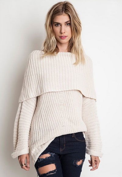 Chunky Thick Foldover Off the Shoulder Knit Sweater Top-Off White