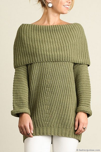 Thick Foldover Off the Shoulder Knit Sweater Top-Olive Green