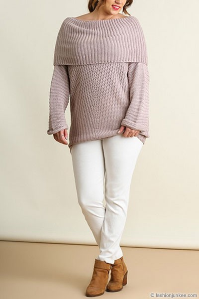SIZE Chunky Thick Foldover Off the Shoulder Knit Sweater Top-Taupe