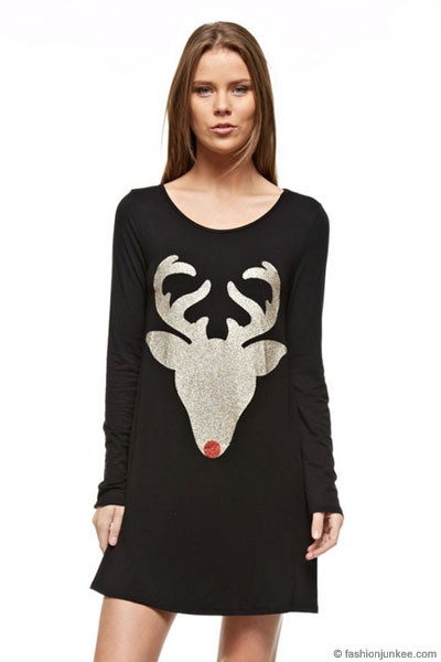 PLUS SIZE Long Sleeve Glitter Red Nose Reindeer Tunic Top Dress-Black - NOW IN STOCK!