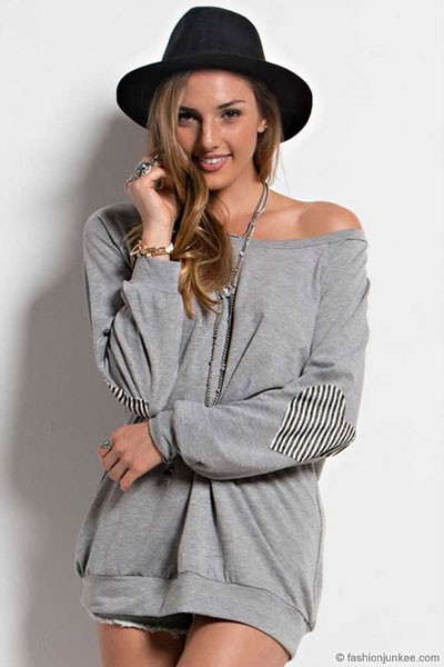 Off the Shoulder Striped Heart Elbow Patch Sweater-Grey