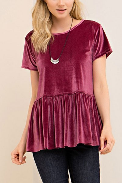 Velvet Short Sleeve Peplum Top-Dusty Rose Magenta