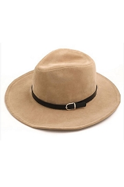 Fedora Hat Wide Brim Belt Buckle Panama Hat-Beige