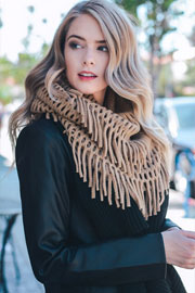 Fringe Knit Crochet Infinity Scarf-Taupe
