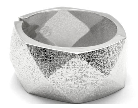 As Seen In People Magazine Thick Geometric Led Metallic Textured Cuff Bracelet Silver