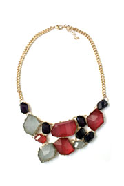 Gorgeous Jeweled Bold Statement Necklace-Muticolor Mauve