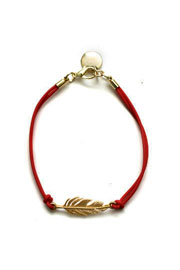 Leaf Charm Layering Bracelet-Red