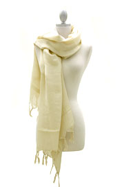 Love Quotes Linen Knotted Fringe Scarf-Beige
