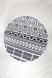 Bohemian Tribal Print Fringe Round Beach Towel-Black and White