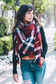 Oversized Tartan Plaid Blanket Scarf with Frayed Edges-Red Burgundy & White