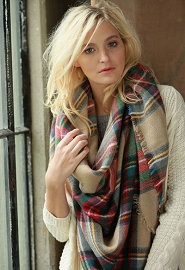 Oversized Tartan Plaid Blanket Scarf with Frayed Edges-Beige Red & Green